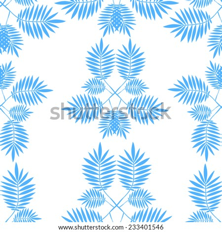 Vector seamless pattern with  blue tropical leaves on white background. Seamless decorative template texture with leaves. Endless leaf background.  - stock vector