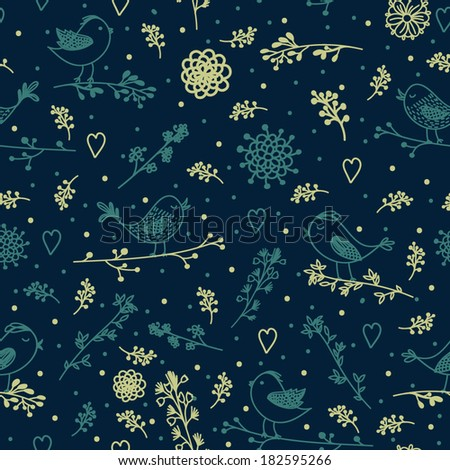 Vector seamless pattern with branches, leaves and birds