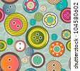 Vector seamless pattern with bright buttons - stock vector