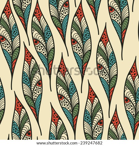 Vector seamless Pattern with bright feathers, fully editable eps 10 file with clipping mask and seamless pattern in swatch menu - stock vector