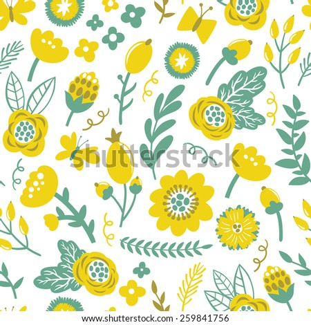 Vector seamless pattern with bright flowers, berries, branches, leaves and butterflies. Vintage hand drawing floral texture. Vintage natural background. - stock vector