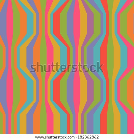 Vector seamless pattern with broken wavy color strips. Vintage background. Illustration with texture for print, web