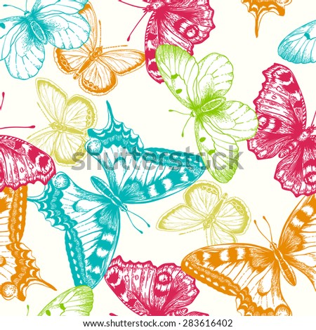 Vector seamless pattern with butterflies.