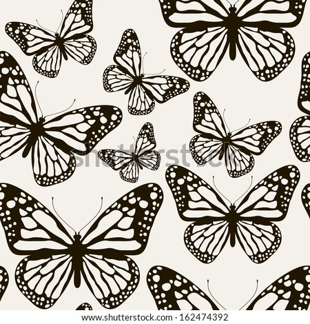 Vector seamless pattern with butterflies. Stylish graphic texture. Monochrome repeating print - stock vector