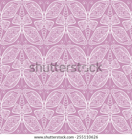 Vector seamless pattern with butterfly. Art nouveau seamless ornament. - stock vector