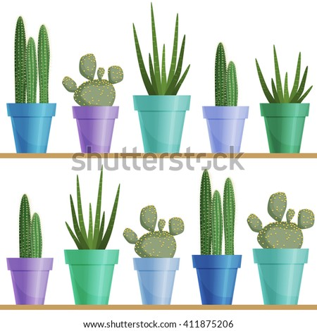 Vector seamless pattern with cactus and succulent in a pot in a row on a board. Houseplant fabric design.