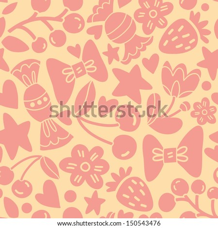Vector seamless pattern with candies, berries, flowers, hearts and stars.