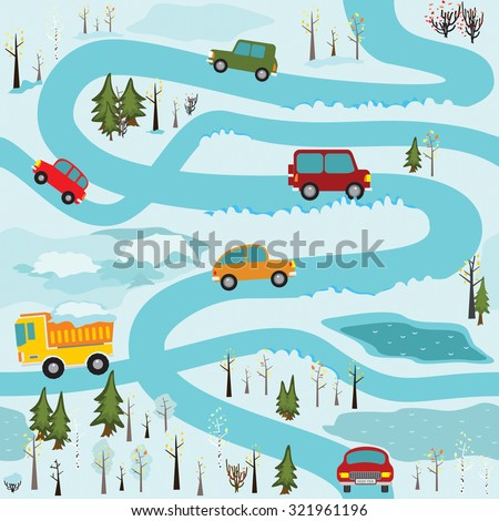 Vector seamless pattern with cars and construction equipment in the winter forest roads. It can be used as a pattern for the fabric, children's play mat, board games and etc. - stock vector