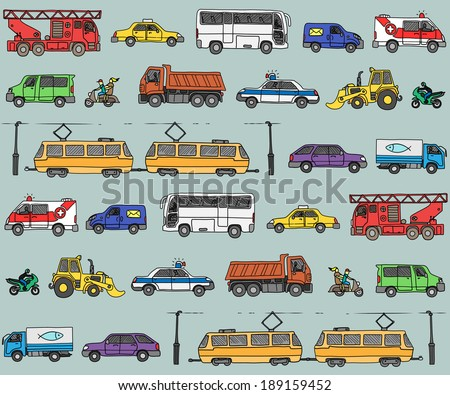 Vector seamless pattern with cars. Traffic. Doodle set.  - stock vector