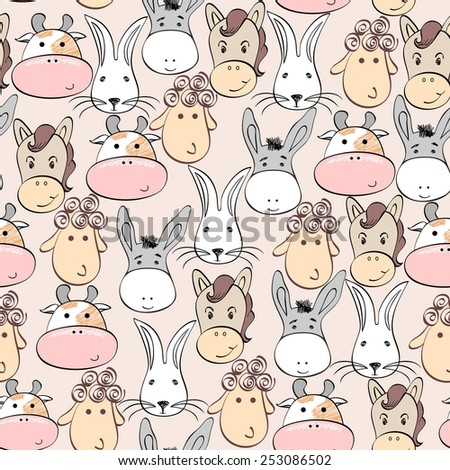 Vector seamless  pattern with cartoon animal face. - stock vector