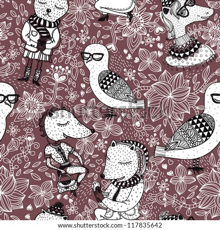 vector seamless pattern with cartoon animals on a floral background - stock vector