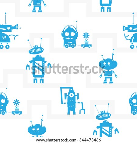 Vector seamless pattern with cartoon robots  on  white  background. - stock vector