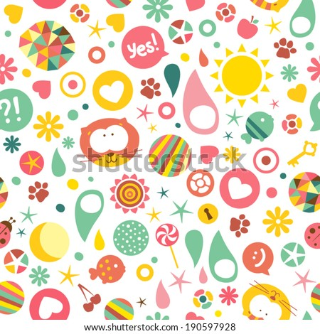 Vector seamless pattern cats different fun stock vector for Fun pattern wallpaper
