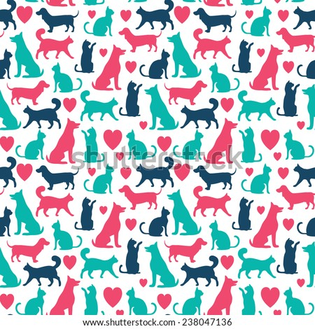 Vector seamless pattern with cats and dogs - stock vector