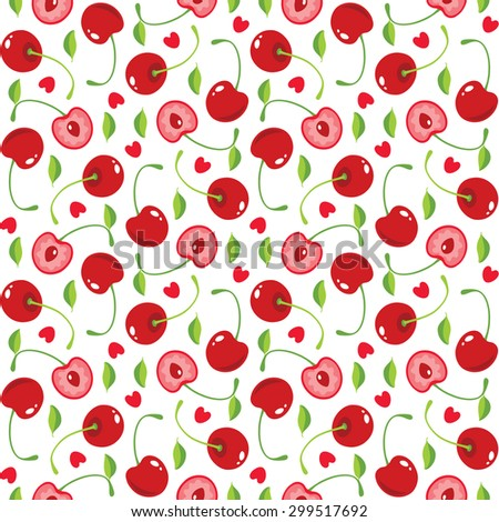 Vector seamless pattern with cherries and hearts - stock vector