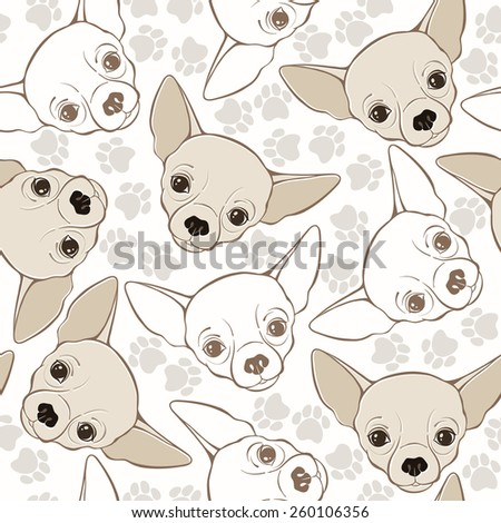 Vector seamless pattern with chihuahua-dog and traces.  - stock vector