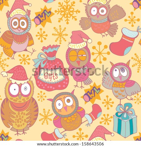 Vector seamless pattern with Christmas funny owls and other Christmas things.