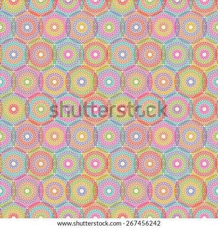 Vector seamless pattern with circle of doodle. Mesh geometric ornament. Color decorative illustration for print, web - stock vector