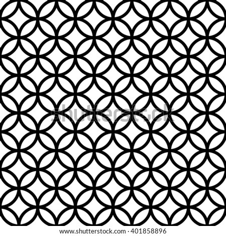 Vector seamless pattern with circles / rings. Monochrome geometric background in black and white colors. - stock vector