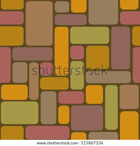 Vector seamless pattern with color rectangular tiles. Simple abstract ornamental illustration with stylized covering and mosaic. Traditional architectural graphic drawing background for print and web - stock vector