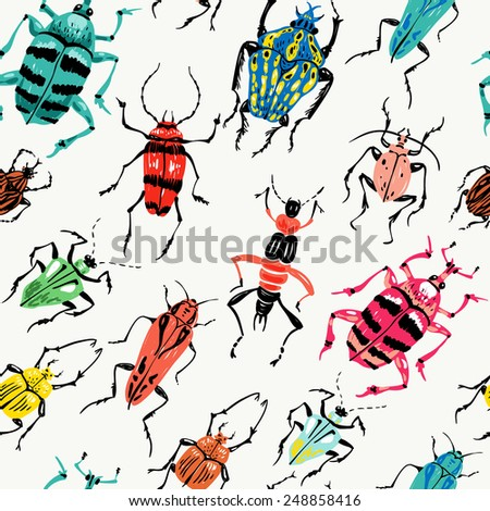 vector  seamless pattern with colorful abstract insects - stock vector