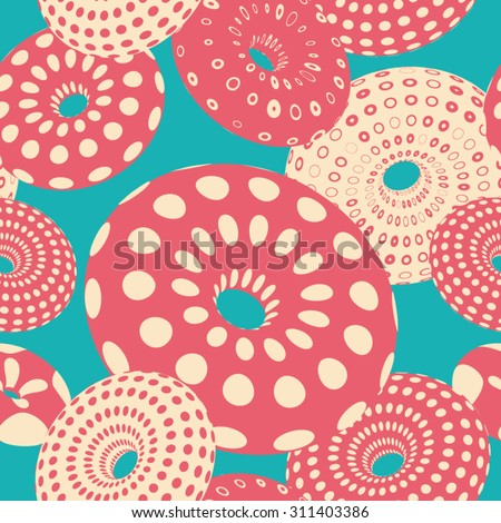 vector seamless pattern with colorful donuts or toroids - stock vector