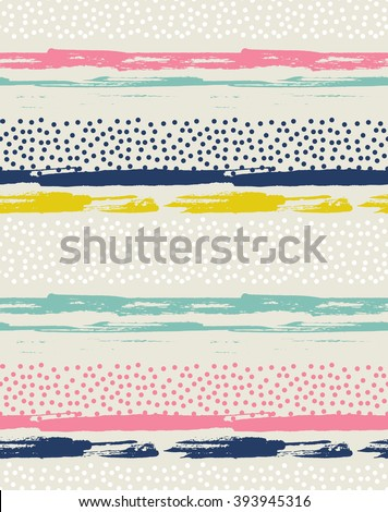 Vector seamless pattern with colorful dots. Background with ink strokes. - stock vector