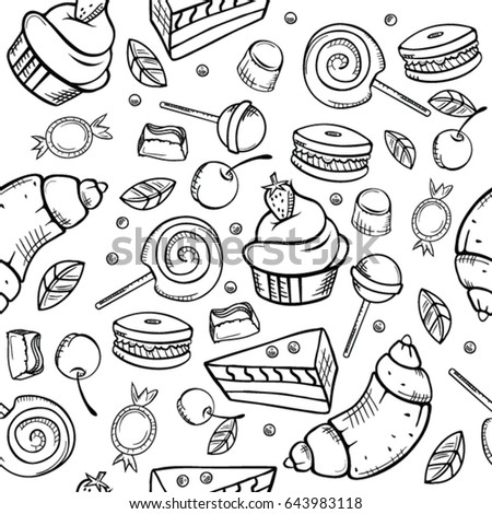 Vector Seamless Pattern Contour Sweets Candies Stock
