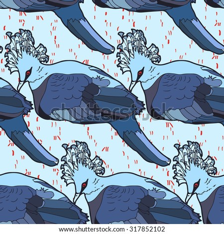Vector seamless pattern with crowned pigeons