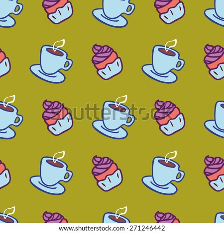 Vector seamless pattern with cup of tea or coffee and a cupcake. - stock vector