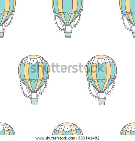 Vector seamless pattern with cute air balloon in the sky on white background - stock vector