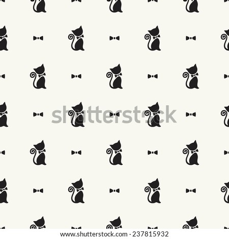 Vector seamless pattern with cute cats and bows - stock vector