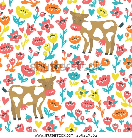 Vector seamless pattern with cute cows and flowers. Bright childish background with funny cartoon characters. Natural texture.