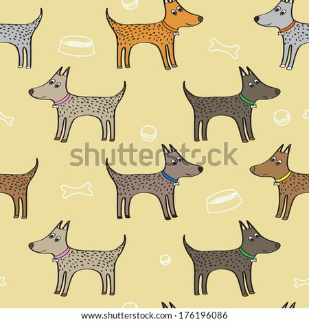 Vector seamless pattern with cute dogs