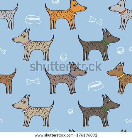Vector seamless pattern with cute dogs - stock vector