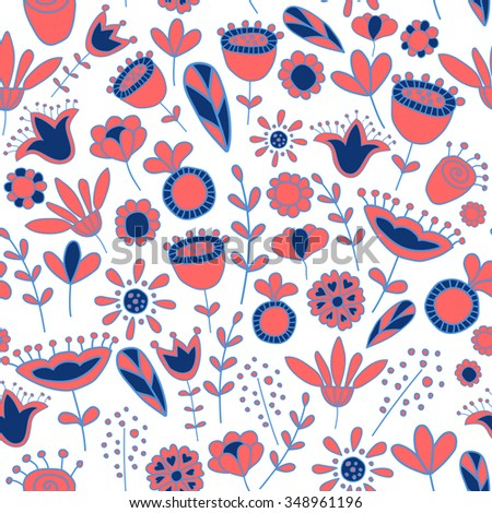 vector seamless pattern with cute doodle flowers on white background