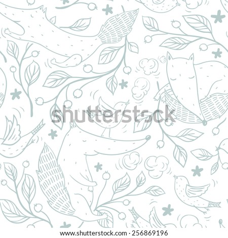 vector seamless pattern with cute foxes and birds with cherry branches - stock vector