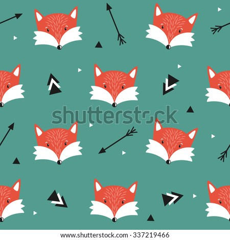 Vector seamless pattern with cute foxes, arrows and triangles. Childish background with cartoon character. Repeating texture with smiling animals. - stock vector