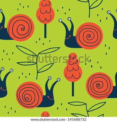 Vector seamless pattern with cute friendly snails - stock vector