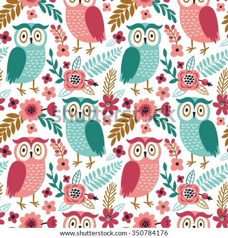 Vector seamless pattern with cute owls and floral elements: flowers, branches, berries and leaves. Repeated texture with funny cartoon characters. Childish background. - stock vector