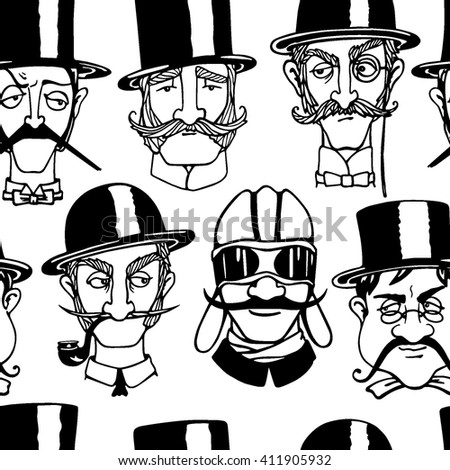 Vector seamless pattern with cute retro male characters. Heads of skeptical, elegant and funny gentlemen. Ink drawing, graphic style.