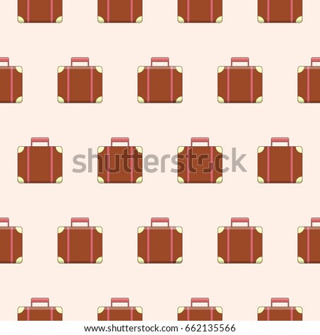 Vector seamless pattern with cute suitcases staggered. Template for packaging, wallpaper, textiles. Well suited for design for children