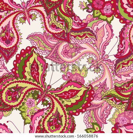 Vector seamless pattern with decorative colorful butterflies on a white background. Seamless pattern can be used for wallpapers, fabric, pattern fills, web page backgrounds, surface textures. - stock vector