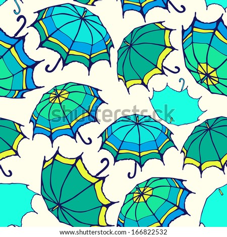 Vector seamless pattern with decorative colorful umbrellas
