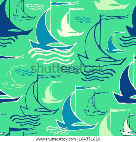 Vector seamless pattern with decorative sailing ships on waves. Can be used for textile, summer fashion fabric, website background, packaging, invitations, greeting cards - stock vector