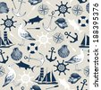 Vector seamless pattern with decorative sea elements and hand drawn sea illustrations. Vintage background - stock vector