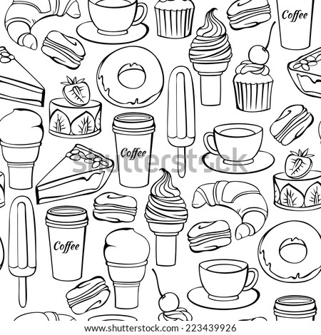 Vector seamless pattern with decorative sweet food and drinks illustration isolated on white. Vintage bakery background.