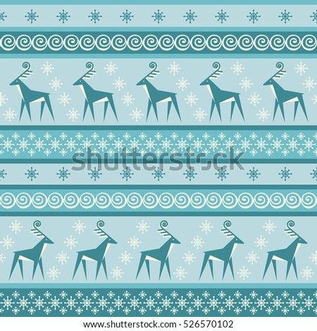 Vector seamless pattern with deer and snowflakes. Christmas and winter vintage striped blue background. Color decorative illustration for print, web