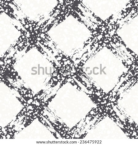 Vector seamless pattern with diagonal crossed elements. Christmas background with paint brush strokes. Graphical colorful texture with snowy covering. - stock vector