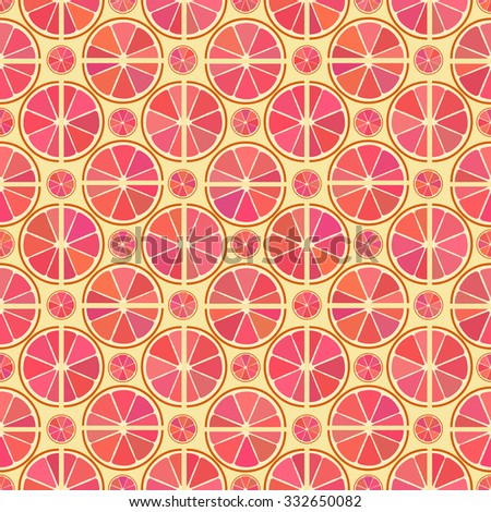 Vector seamless pattern with different citrus grapefruit slice on the yellow background  - stock vector